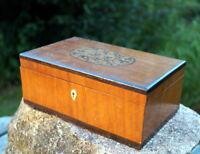 antike Holzdose Deckeldose Edelholz Intarsien Handarbeit edel & wertvoll