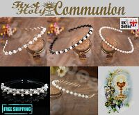 UK Communion Flower Girl Wedding Veil Hair Piece Crystal Diamanté Pearl Headband