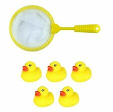 Pack of 8 Yellow Ducks With Net Kids Bath Time Fun Toys Play Fishing Game