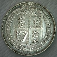 1892 Great Britain Silver Shilling Coin Almost Uncirculated UK AU