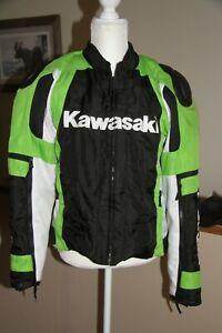 Mens Nylon lime Green KAWASAKI motorcycle jacket large W/Liner Read Description