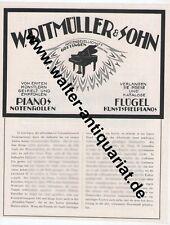 Pianos Flügel Klavier W.Ritmüller Göttingen Große Werbeanzeige anno 1924 Reklame
