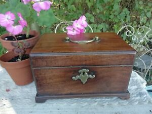 Antique Victorian Wooden Tea Caddy Chest 3 Fitted Zinc Containers Brass Handle