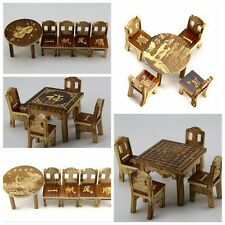 Toy Dollhouse Miniature Furniture Wooden Mini Dining Room Table and 4 Chairs Set