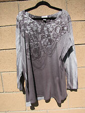 Womens Seventh Avenue Plus Size 2X Top Tatoo Print Gray Embellished  Long Sleeve