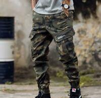 Mens Jogger Skinny Pants Cargo Overalls Harem Military Trouser Tapered Casual X