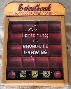 Vintage Esterbrook Pen Lettering Slant Top Store Display Case