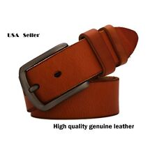 One Vintage Style genuine Leather Mens Belt with Zinc Alloy Buckle Waist #VB007