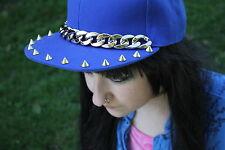 BLUE GOLD CHAIN STUD  FLAT CAP INDIE GRUNGE PUNK HIPSTER PASTEL GOTH kawaii