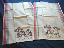 Vintage Tea Towel Linen BIRDS Days of Week TUESDAY SATURDAY Unused LOT 2 Stripes