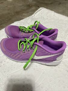 Nike Free 5.0 GS (Kids) Sz 7Y Purple/Green/White 725114-500 Women's 8.5