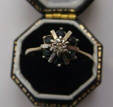 Women's Vintage 9ct Gold Sapphire & Diamond Ring Size N 1/2 Weight 1.9g Stamped