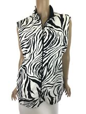 Hot Cotton Cotton Vest Size XL Black/White Zebra Print Zip Front