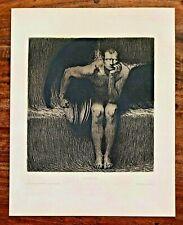 Franz von STUCK (1863-1928) Rare Original Radierung Anno 1890 LUCIFER / LUZIFER