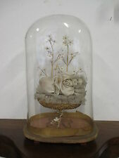 Globo in vetro Maria Bambina in cera con fiori - campana - Madonna - bimba