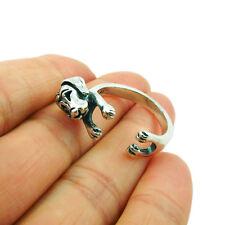 Dachshund Badger Dog 925 Sterling Silver Wrap Ring Adjustable Size