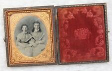 Daguerrotype Photograph Vintage Antique Civil War Era Couple Copper Wood Framed