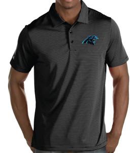 NWT Men's Small Carolina Panthers Antigua Black Quest Stripe Polo Shirt #100425