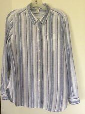 L. L. Bean 100% Linen Lake Blue Striped Buttons Lng Sleeve Women Shirt Blouse M