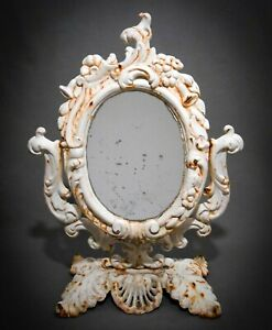 LATE 19TH C ANTIQUE VICTORIAN CAST IRON VANITY ORNATE MIRROR STAND, W/ORIG PAINT