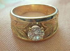 Fine vintage mid century estate jewelry womens 14k gold diamond ring w/appraisal