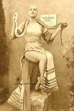 Vintage Creepy Snake Handling Girl Photo Scary Snake Charmer Circus Freak