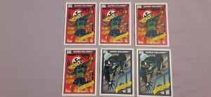 LOT OF 6-1990 MARVEL UNIVERSE SUPER-VILLAINS RED SKULL# 81 & VENOM CARD #73.MINT
