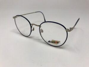 Marchon Eyeglasses Round Wall Street Blue Chrome 48-19-135 48mm AD47