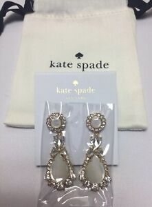Kate Spade Butter Up Mother Of Pearl Statement Crystal Dangle Earrings Shell New