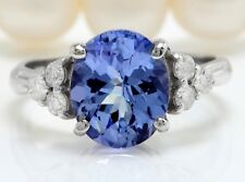 3.10 Carat Natural Blue Tanzanite and Diamonds in 14K Solid White Gold Ring