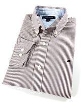 TOMMY HILFIGER Shirt Men's Oxford Brown/ White Stripe Slim Fit Long Sleeves