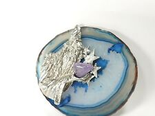 Agate Gemstone Crystal Slice with Pewter Wizard (EA5911) Fantasy Magic