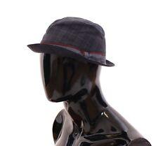 NWT $300 DOLCE & GABBANA Blue Cotton Logo Fedora Trilby Hat Cappelo s. 59 / L