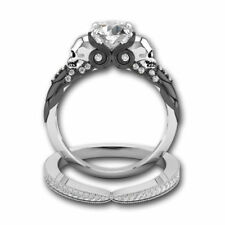2pcs 925 Silver White Sapphire Wedding Anniversary Skull Ring Women Jewelry Set
