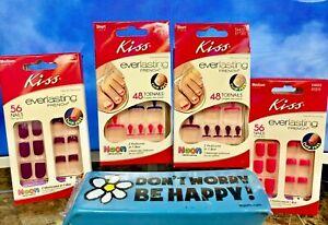 Kiss Everlasting French Glue-On Manicure & Pedicure Sets Fingernails & Toenails