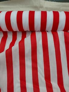 STRIPES RED AND WHITE, cotton mix fabric sold/PER METRE/