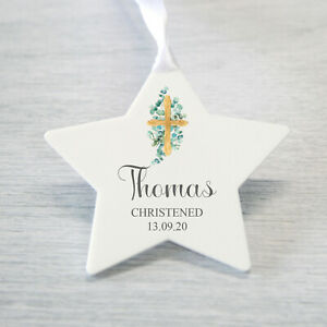 Personalised Christening Baptism Gift Star Decoration Plaque, New Baby Christmas