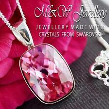 925 Silver Necklace Pendant Crystals from Swarovski® CUSHION 14mm - Rose AB