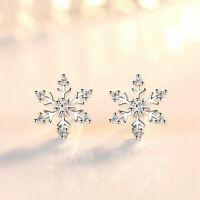 Snowflake Crystal Stud Earrings 925 Sterling Silver Womens Girls Jewellery Gift~