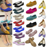 Women Ladies Flats Pumps Ballet Dolly Slip On Loafers Court Casual Holiday Shoes