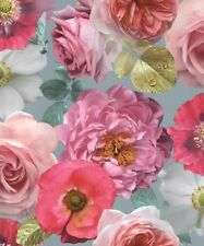 Arthouse Country Garden Teal Rose Feature Poppy Floral Wallpaper 259600