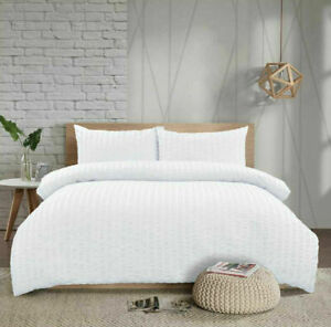 Seersucker Duvet Quilt Cover Pillowcases Non Iron Bedding Set Free Delivery
