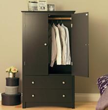 Black Free Standing Armoire Wardrobe Closet Dresser Armoires Clothing Organizer