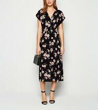 New Look Womens Light Black Floral Shirred Waist Midi Wrap Dress Size 8
