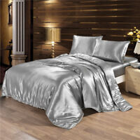 4Pcs Duvet/Doona/Quilt Luxury Satin Charmeuse Sheet Set Queen Silk King Bedding