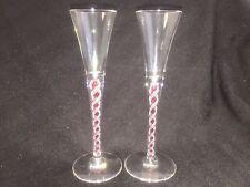 "PAIR MURANO LATTICINO STEM CORDIAL APERITIF GLASSES CANDY CANE 5 3/4"""