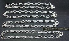 """4 pcs Silver plated  8"""" cable link 7X5mm charm bracelet chains add charms pch071"""
