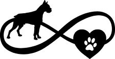 Boxer Dog Love Infinity Heart Pet Decal Window Bumper Sticker Car Decor