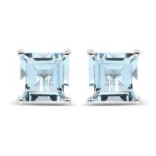 1.62ct Genuine Aquamarine 925 Sterling Silver Push Back Stud Gemstone Earrings