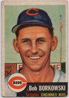 1953 Topps #7 Bob Borkowski VG-VG Crease Cincinnati Reds FREE SHIPPING